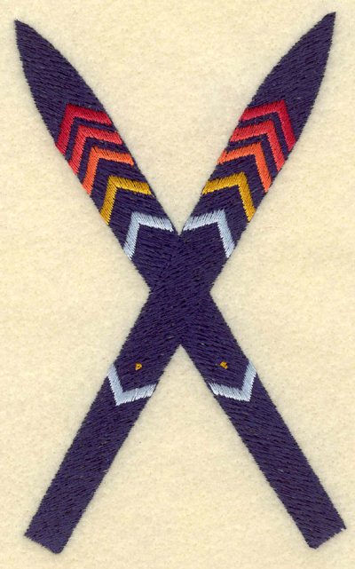 Embroidery Design: Crossed skis3.03w X 5.00h