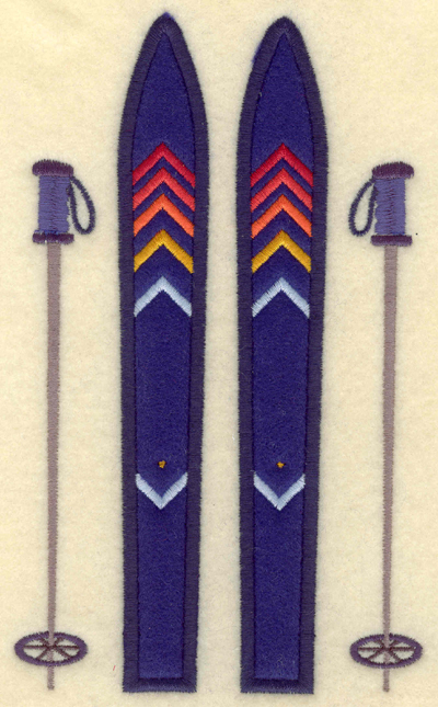 Embroidery Design: Skis and poles applique4.26w X 7.01h