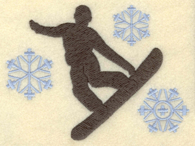 Embroidery Design: Snowboarder with snowflakes large5.09w X 3.74h