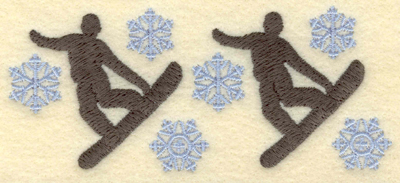 Embroidery Design: Snowboarders with snowflakes small5.00w X 2.13h