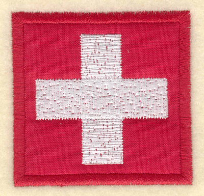Embroidery Design: Swiss flag applique large2.53w X 2.48h