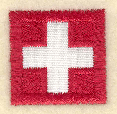 Embroidery Design: Swiss flag applique small1.29w X 1.27h