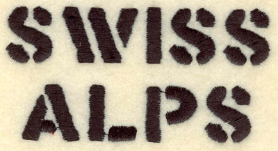 Embroidery Design: Swiss Alps text3.91w X 1.97h