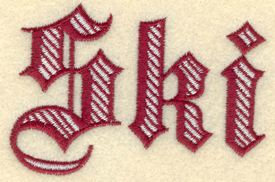 Embroidery Design: Ski two color text3.26w X 2.20h