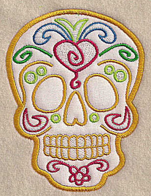Embroidery Design: Skull B medium applique 3.76w X 4.99h