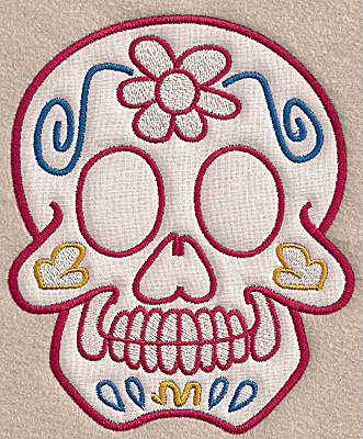 Embroidery Design: Skull D large applique 5.66w X 6.91h