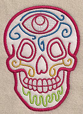 Embroidery Design: Skull F medium applique 3.64w X 4.99h