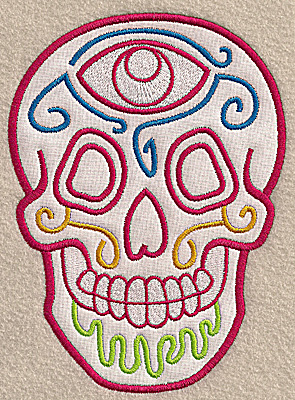 Embroidery Design: Skull F large applique 5.03w X 6.92h
