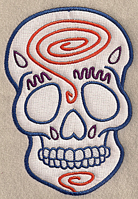 Embroidery Design: Skull G large applique 4.70w X 6.90h