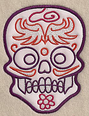 Embroidery Design: Skull H medium applique 3.81w X 4.96h