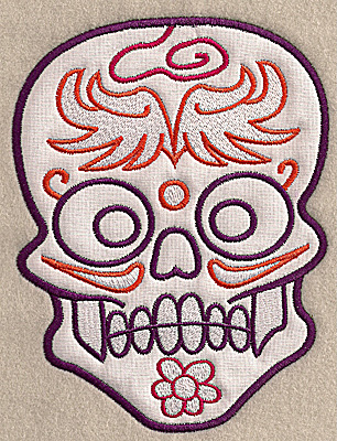 Embroidery Design: Skull H large applique 5.27w X 6.89h