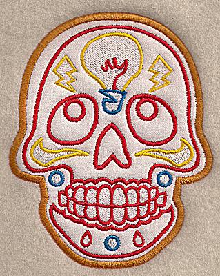 Embroidery Design: Skull J medium applique 4.01w X 4.97h