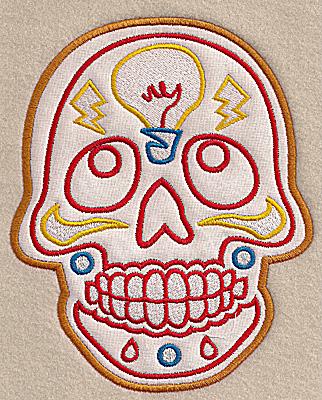 Embroidery Design: Skull J large applique 5.55w X 6.89h