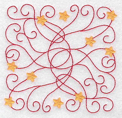Embroidery Design: Swirls and stars rectangle small 3.88w X 3.81h