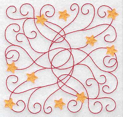 Embroidery Design: Swirls and stars rectangle small 5.00w X 4.88h
