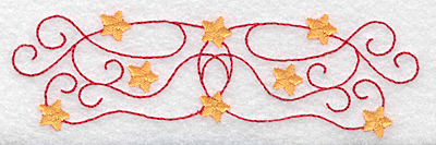 Embroidery Design: Swirls and stars border 4.88w X 1.45h