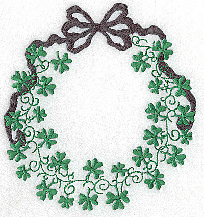 Embroidery Design: Shamrock wreath with bow small 5.38w X 4.90h