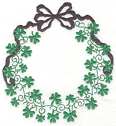 Embroidery Design: Shamrock wreath with bow large 6.43w X 6.94h