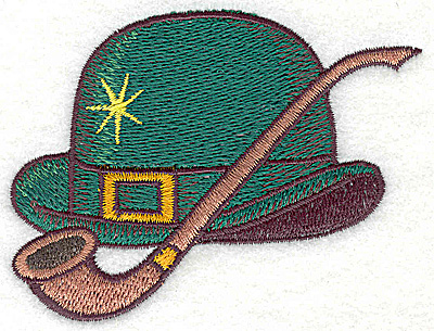Embroidery Design: Irish Derby hat with pipe small 3.57w X 2.71h