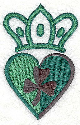 Embroidery Design: Crown heart and shamrock small 2.35w X 3.66h