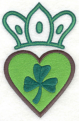 Embroidery Design: Crown heart applique and shamrock large 3.11w X 4.88h