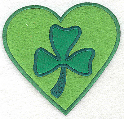 Embroidery Design: Shamrock in heart double applique 5.21w X 4.96h