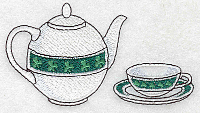 Embroidery Design: Irish teapot cup and saucer small 3.89w X 2.15h