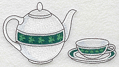 Embroidery Design: Irish teapot cup and saucer large 4.97w X 2.75h