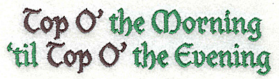 Embroidery Design: Top O' the Morning 4.98w X 1.29h