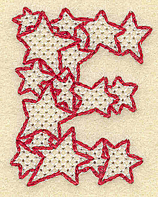 Embroidery Design: E small 1.56w X 2.00h
