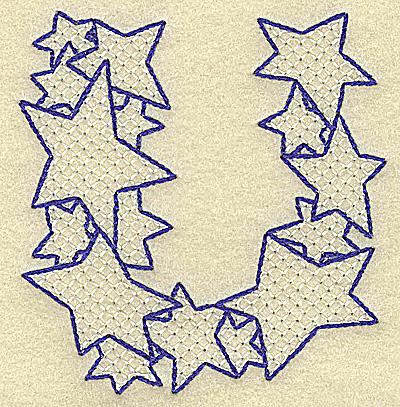 Embroidery Design: U large 3.35w X 3.51h