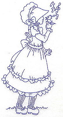 Embroidery Design: Girl in Sunbonnet with bird large 3.21w X 5.97h