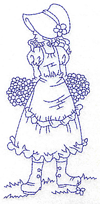 Embroidery Design: Girl in Sunbonnet with two bouquets large 2.92w X 5.97h