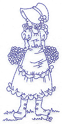 Embroidery Design: Girl in Sunbonnet with two bouquets medium 2.33w X 4.78h