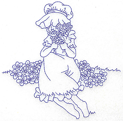 Embroidery Design: Girl in Sunbonnet sitting among flowers large 5.97w X 5.88h