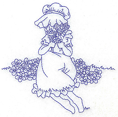 Embroidery Design: Girl in Sunbonnet sitting among flowers medium 4.78w X 4.70h