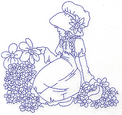 Embroidery Design: Girl in Sunbonnet sitting amid flowers large 5.92w X 5.60h