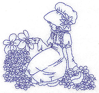 Embroidery Design: Girl in Sunbonnet sitting amid flowers small 3.88w X 3.67h
