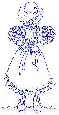 Embroidery Design: Girl holding two bouquets large 2.91w X 5.91h