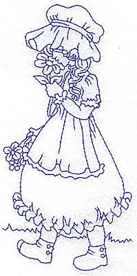 Embroidery Design: Girl smelling flowers large 3.04w X 5.94h