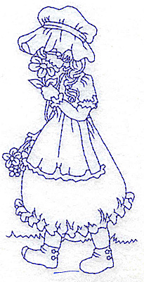 Embroidery Design: Girl smelling flowers medium 2.43w X 4.75h