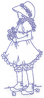 Embroidery Design: Girl with daisies large 2.59w X 5.98h