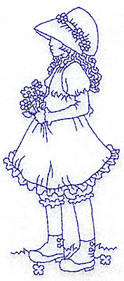Embroidery Design: Girl with daisies medium 2.07w X 2.79h