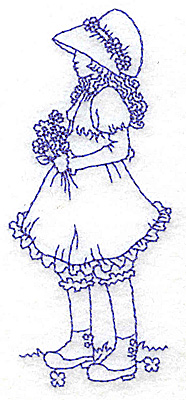 Embroidery Design: Girl with daisies small 1.68w X 3.88h