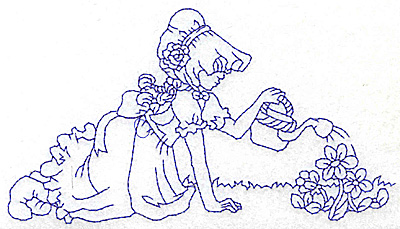 Embroidery Design: Girl watering flowers large 5.97w X 3.33h
