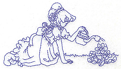 Embroidery Design: Girl watering flowers medium 4.78w X 2.66h