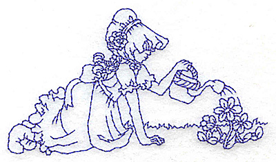 Embroidery Design: Girl watering flowers small 3.87w X 2.16h