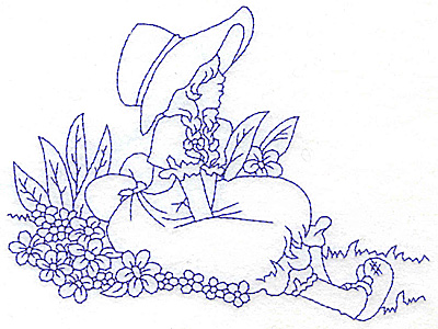Embroidery Design: Girl sitting on ground amid flowers large 5.96w X 4.44h