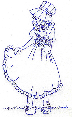 Embroidery Design: Girl holding dress large 3.52w X 5.95h
