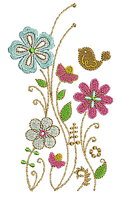 Embroidery Design: Floral with bird 3.65w X 6.50h